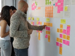 People pasting post-its on a wall while doing design thinking