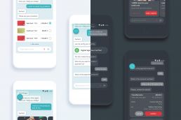 comparison between virtual assistant screens in light and dark mode