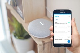 A picture showing a google home device an a mobile phone with toone's setting screen